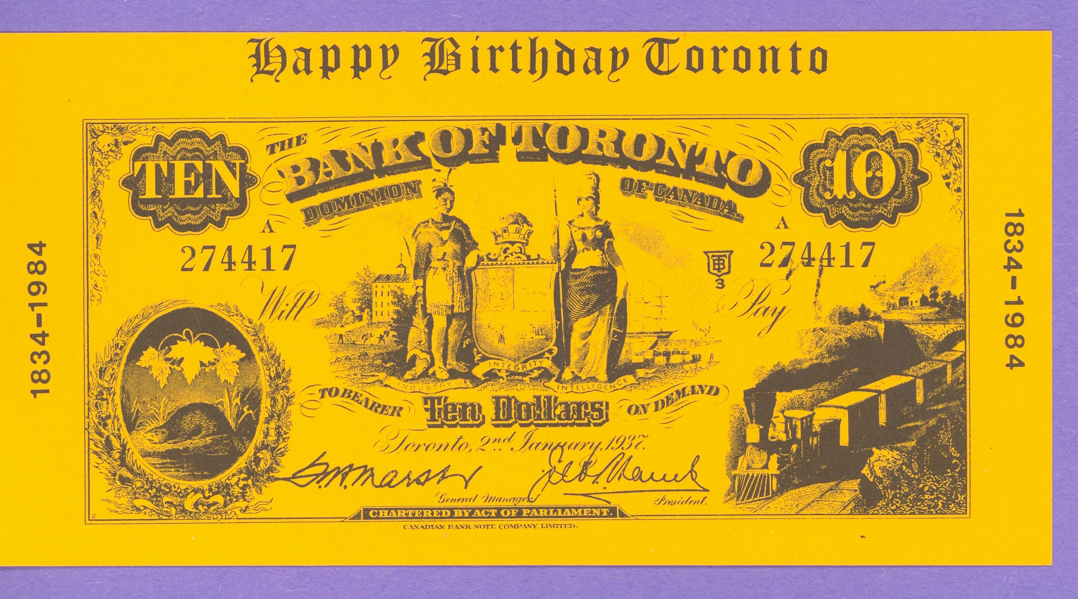 1984 Happy Birthday Toronto, Bank of Toronto, Wally Ciona 1